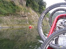 bikes overtake canoes